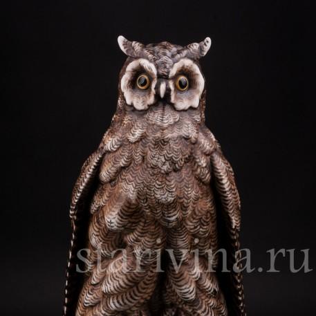 Фарфоровая статуэтка птицы Сова на книгах, Volkstedt, Германия, кон. 19 в.